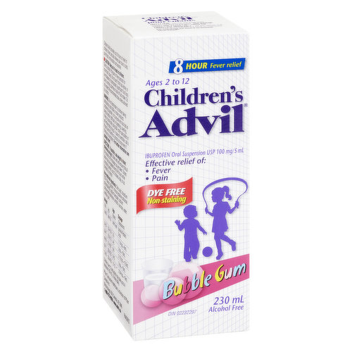 100mg/5ml. Bubblegum Flavour Liquid Effective Relief of Fever and Pain. Dye Free and Alcohol Free. Ages 2 to 12 years