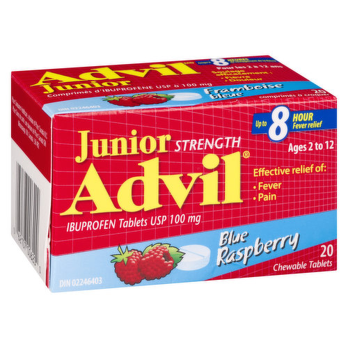 Effective 8 hour relief of fever & pain for ages 2 to 12. Ibuprofen chewable tablets USP 100mg.