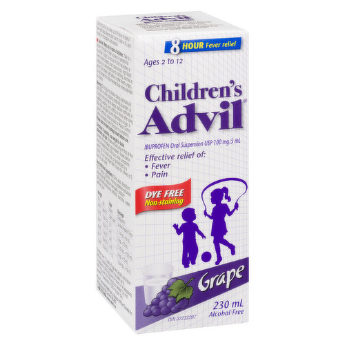 100mg/5ml. Grape flavourEffective relief of Fever & Pain. Dye Free and Alcohol Free. Ages 2 to 12 years
