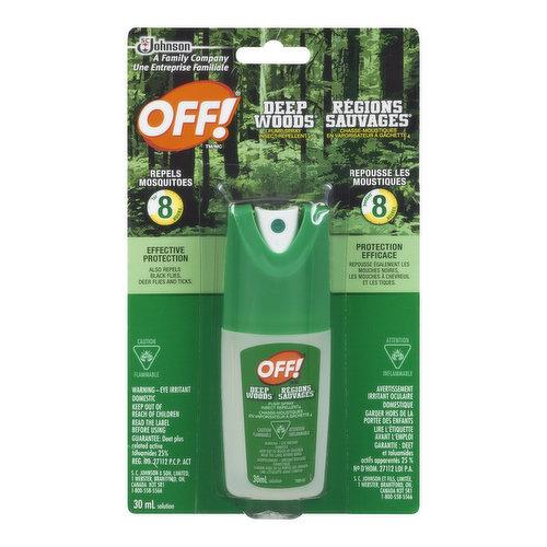 Repels for 8 Hours. Effective Protection. Also Repels Black Flies, Deer Flies and Ticks.