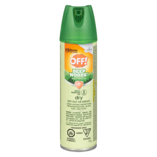 Dry formula repels mosquitoes for up to 8 hours. Also repels black flies, biting midges, deer flies, stable flies, ticks and chiggers. Specially formulated to feel dry, not oily or greasy.
