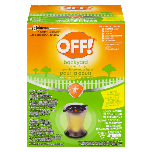Protect your outdoor space with OFF! Mosquito Lamp. Lamp Kills Mosquitoes from an average-sized patio for up to 4.5 meters. Slow Release Generator. Contains 1 reusable lamp, 1 diffuser and 1 candle.