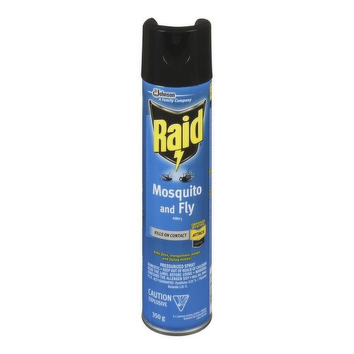 Raid Mosquito and Fly Killer contains a botanical insecticide derived from the Chrysanthemum flower. Kills on contact.Non-Staining. Non-flammable.