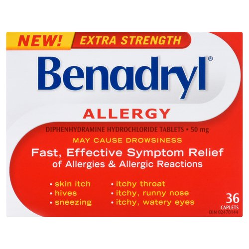 May cause drowsiness. Fast, effective symptom relief of allergies & allergic reactions: itchy throat, itchy/runny nose, hives, sneezing, watery eyes. Diphenhydramine Hydrochloride tablets. 50mg. 36 pk