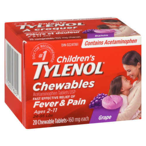 Ages 2-11, 24-95lbs. Fast, effective relief of fever and pain due to toothaches, immunizations, colds or flu. Grape punch flavour.