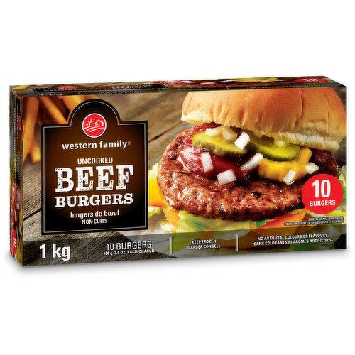 Frozen Uncooked 10 Burgers - 3.5oz Each.