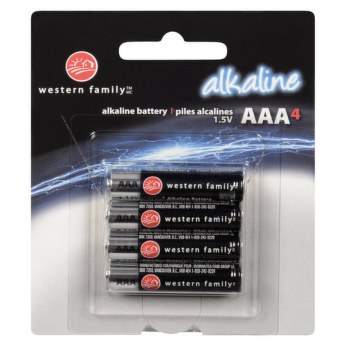 Long lasting and reliable. 1.5 volts each. Contains 4AAA alkaline batteries.