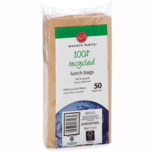 50, 100% Recycled Lunch Bags.