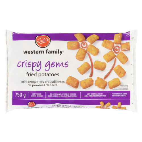 Makes a great side to any meal of the day! Low in saturated fat, no artificial flavors or colors. Produced in Alberta. Keep Frozen.