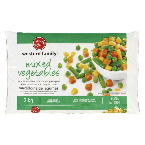 Frozen A Traditional Mix of Diced Carrots, Cut Greens Beans, Green Peas and Whole Kernel Corn.