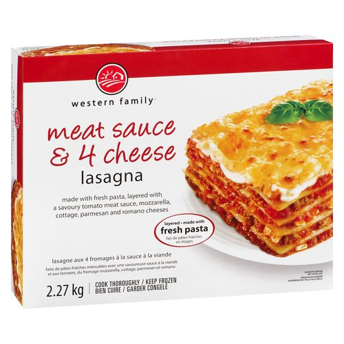 Made with fresh pasta, layered with a savory tomato meat sauce, mozzarella, cottage, parmesan & romano cheeses. Good source of calcium & Fibre. Keep frozen, cook thoroughly.