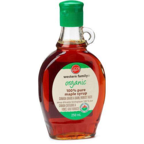 100% pure organic maple syrup. Robust taste. Canada No.1 Medium.