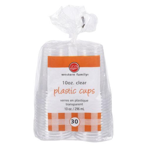 30 plastic cups. 296ml each.
