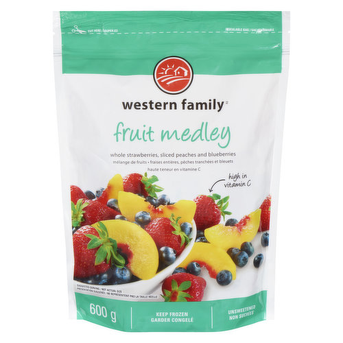 Whole strawberries, sliced peaches & blueberries. High in vitamin C. Unsweetened.