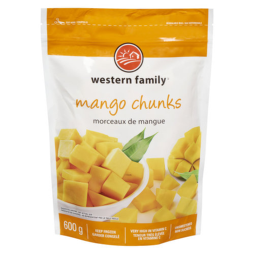 Unsweetened frozen mango pieces. Great in smoothies, fruit salad & more. Very high in Vitamin C.