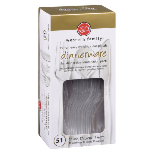 Assorted Heavy Duty Clear Full Combination Pack of 17 Forks. 17 Spoons and 17 Knives.