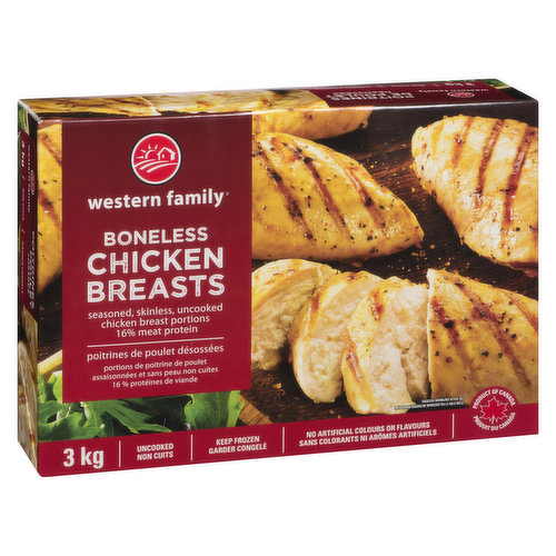 Frozen. Fillet Removed. Seasoned, Skinless Chicken Breast Portions Uncooked Individually Quick  Frozen. 16% Meat Protein.