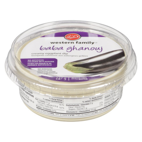 Creamy Eggplant Dip. Use as an appetizer with pita bread or a side dish. No artificial colors or flavors. Gluten free.