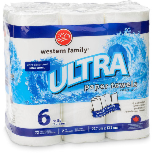 72 sheets per roll. 2 ply. Ultra absorbant, ultra strong. Split-to-fit! 6 rolls.