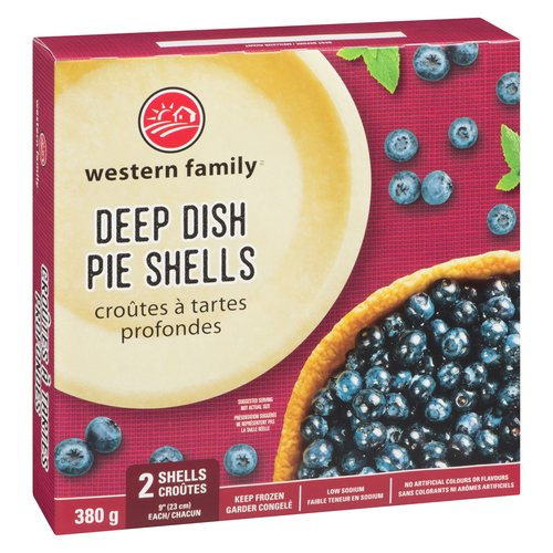 2 frozen pie shells. Perfect for your pies of any type savory or sweet. No artificial colours or flavours. Low in sodium.