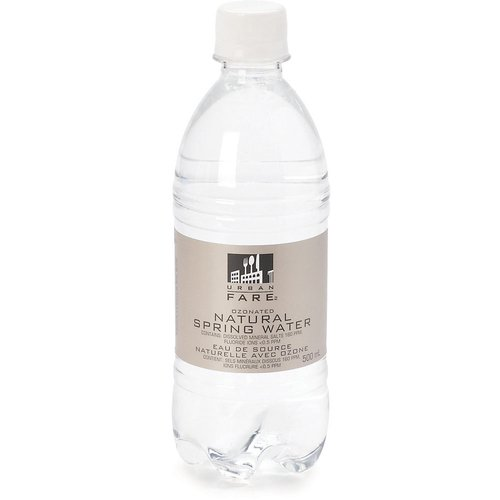 Ozonated Natural Spring Water. Contains: dissolved mineral salts 160ppm, fluoride ions <0.5ppm.