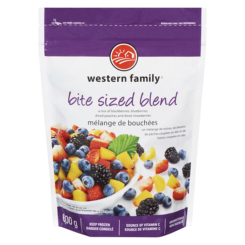 A mix of blackberries, blueberries, diced peaches & diced strawberries. Source of vitamin C. Unsweetened.