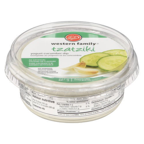 Yogurt, cucumber & garlic dip. Gluten free, no artificial colors or flavors.