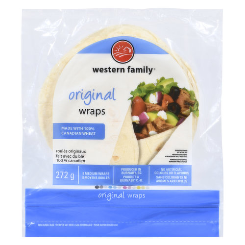 Made with 100% Canadian wheat. 8 medium wraps. No artificial colors or flavors, 0 trans fat & 0 cholesterol.