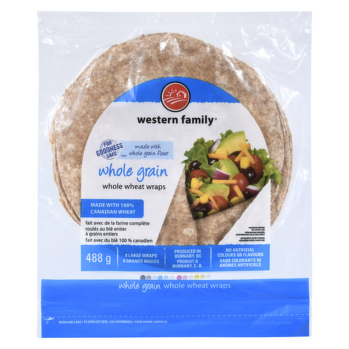 8 Large Wraps. Made with 100% Canadian wheat.No artificial colors or flavors, 0 trans fat & 0 cholesterol. 7 Wraps (488g)