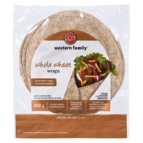 10 Inch Large Wraps. Made with no trans fat, cholesterol, artificial colors or flavors.