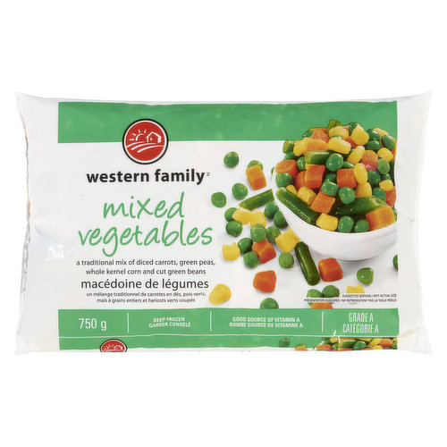A traditional mix of green peas, diced carrots, whole kernel corn & cut green beans. Canada A. Good source of Vitamin A. Keep frozen.
