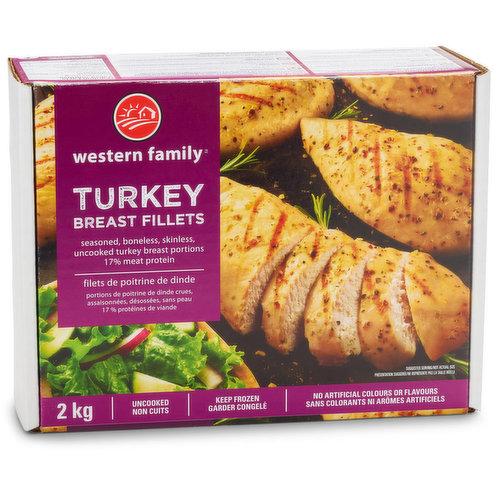 Frozen Seasoned, Boneless, Skinless Turkey Breast Fillets-Uncooked. 17% Meat Protein.
