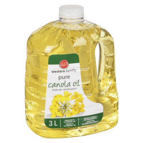 100% pure canola oil. Source of omega-3 polyunsaturates. Produced in Lethbridge, Alberta.