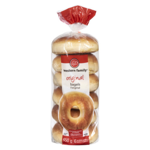6 sliced bagels.  Locally made product. No artificial colors or flavors.