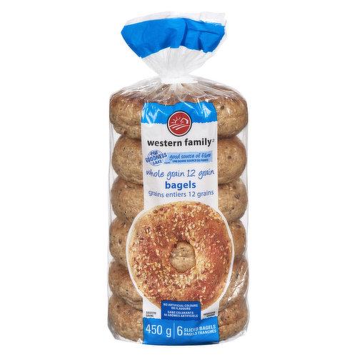 Good source of fibre. No artificial colors or flavors. 6 sliced bagels.