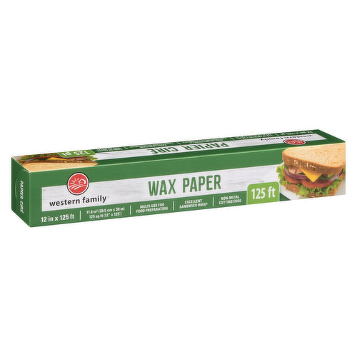 30.5 cm x 38 ml - 125sq ft. Multi Use for Food Preparation. Excellent Sandwich Wrap. Non Metal Cutting Edge.