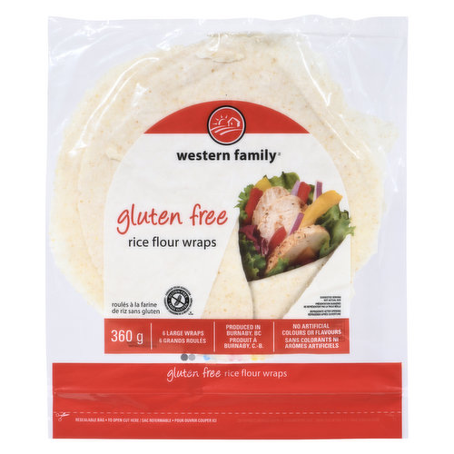 6 large wraps, produced in Burnaby BC, no artificial colors or flavors.
