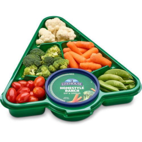 Variety of veggies with Litehouse Homestyle Ranch Dip & Spread. Including: Cauliflower, Broccoli, Mini Carrots, Cherry Tomatoes & Snap Peas.