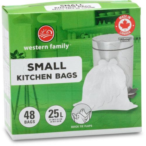 Quick Tie Flaps. 48 Plastic Bags. 21L. 46.9 x 50.8cm.