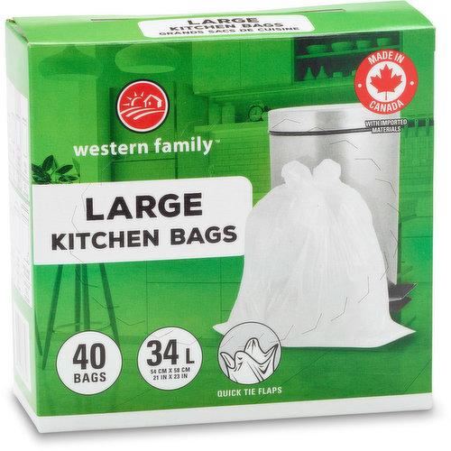 40 Plastic Bags Fits 34L with Quick Tie Flaps. Large 54.8x58.4 cm.
