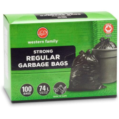 100 Plastic Bags Fits 67-75L with Quick Tie Flaps. 66 x 82.6 cm.