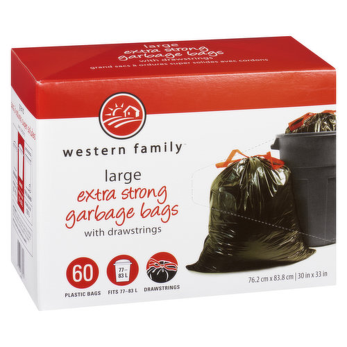 60 Plastic Bags with Drawstrings. Fits 77-83L.