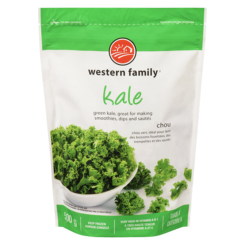 Frozen. Green Kale is Great for Making Smoothies, Dips and Sautes. Excellent Source of Vitamin A. Source of Calcium. Source of Fibre.