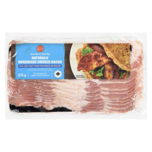 43% less salt than our regular sliced bacon. Naturally hardwood smoked. No MSG added.