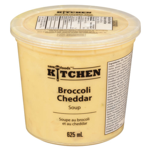 A Thick Creamy Soup Made with Rich Canadian Cheddar Cheese, Broccoli Florets, and Local Dairy.  From Our Kitchen. Heat and Serve.