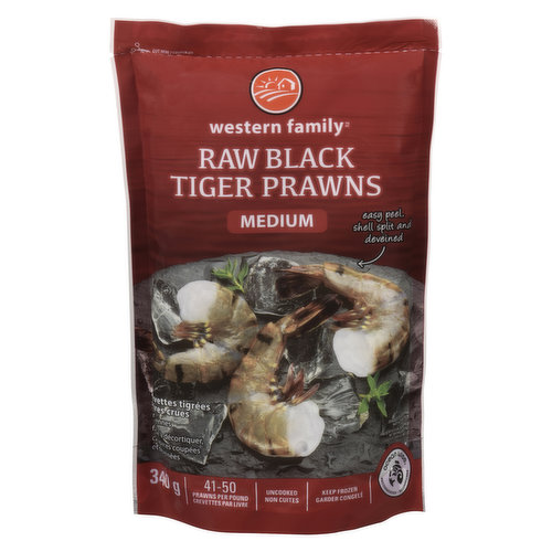 41-50 prawns per pound. Easy peel, shell split & deveined. Uncooked, keep frozen. Ocean Wise.