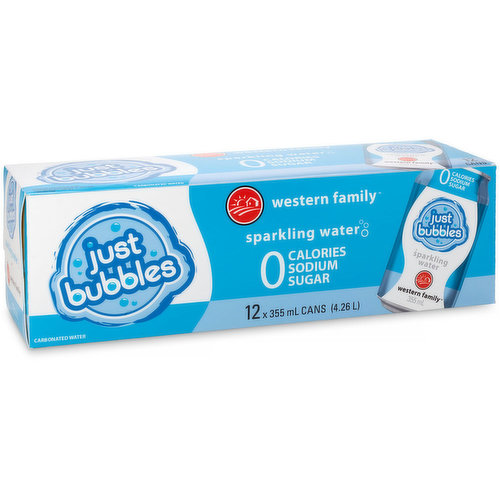 12x355ml Cans. Natural Sparkling Water. 0 Calories, Sodium, and Sugar. Available While Quantiies Last.