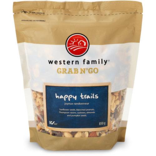 Sunflower Seeds, Blanched Peanuts, Thompson Raisins, Cashews, Almonds and Pumpkin Seeds.