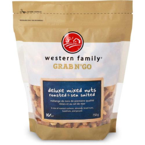 A Mix of Roasted Cashews, Almonds, Brazil Nuts, Hazelnuts, and Pecans.