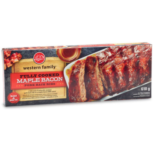 A Full Rack of Naturally Smoked and Slow Cooked Pork Back Ribs in a Maple Bacon Sauce. Keep Refrigerated.